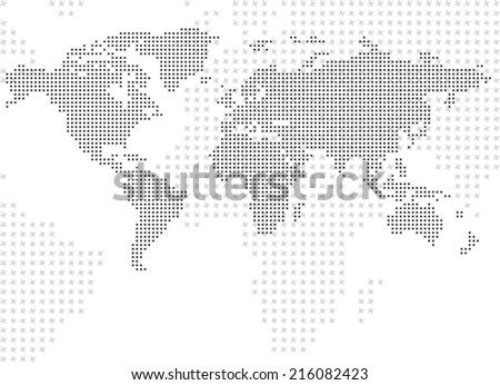 Dotted map background - stock vector