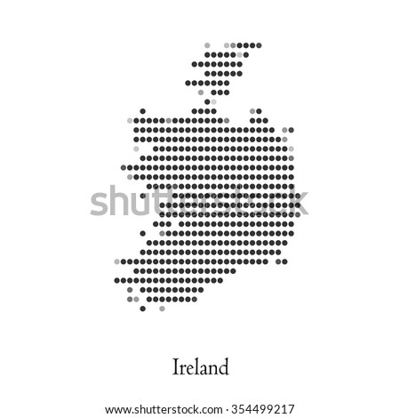 Dotted map of Ireland for your design, concept Illustration. - stock vector