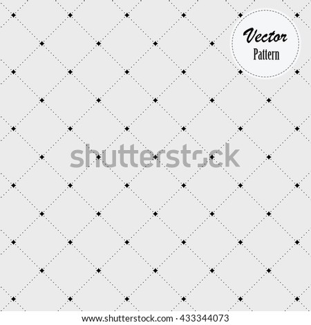 Dotted monochrome stylish geometric diamond shape pattern, vector. decorated abstract star on each corners. - stock vector