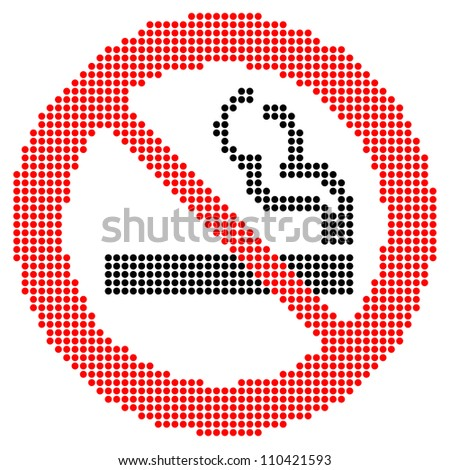 Dotted no smoking sign - stock vector