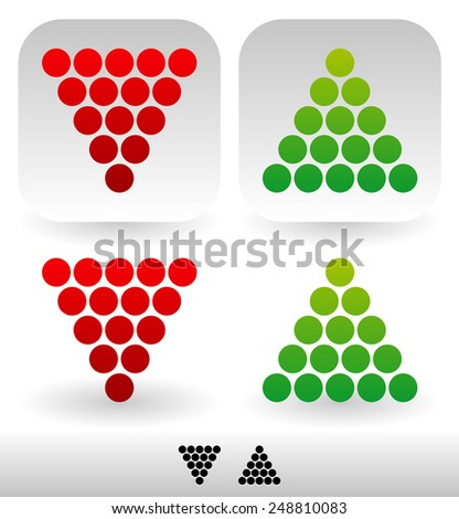 Dotted, Up and Down arrows. Isolated, Icon and Silhouette versions - stock vector