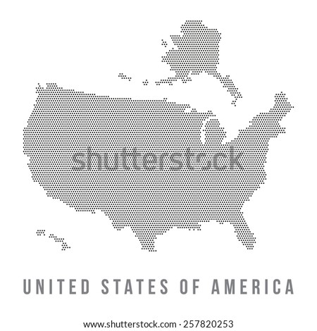 Dotted USA map , isolated in white background - stock vector