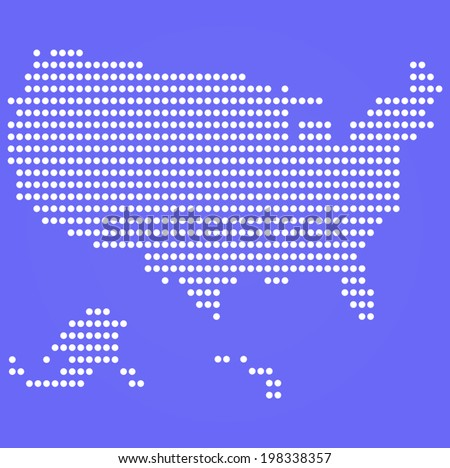 Dotted USA map on blue  - stock vector