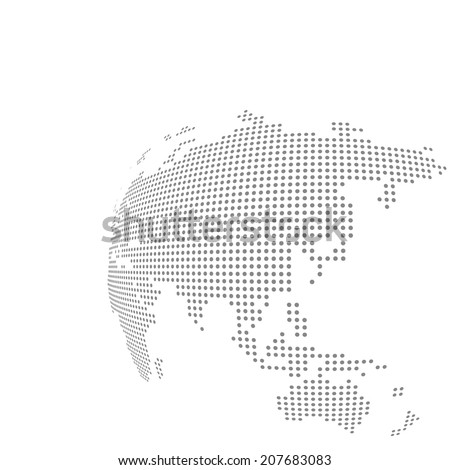 Dotted vector globe map - stock vector