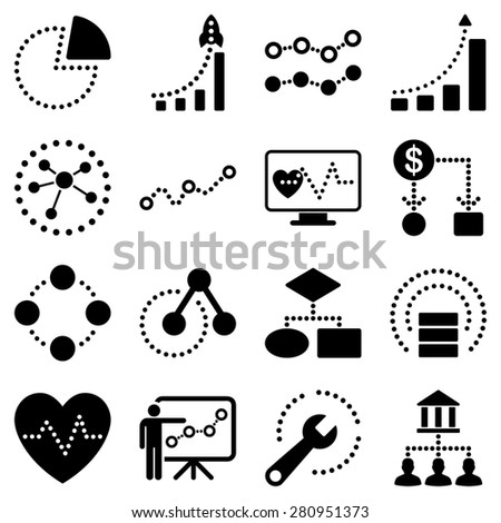 Dotted vector infographic business icons. Black symbols on a white background. - stock vector