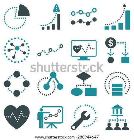 Dotted vector infographic business icons on a white background. This bicolor vector icon set uses soft blue color scheme.  - stock vector