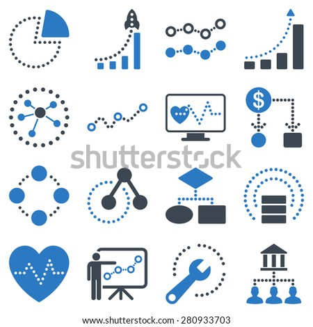 Dotted vector infographic business icons. This bicolor vector icon set uses smooth blue color scheme. Images are on a white background. - stock vector