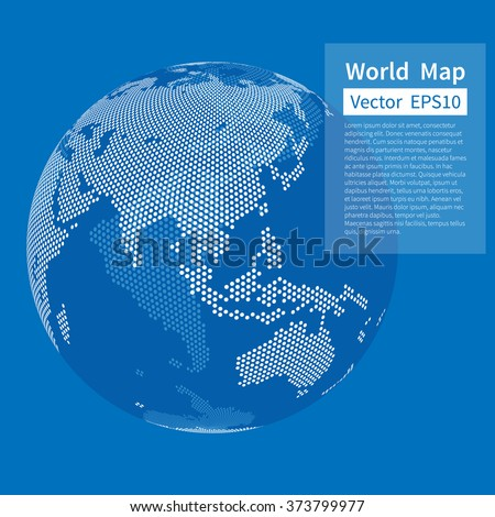 Dotted World Map Background. Earth Globe. Globalization Concept. White And Blue. Vector. - stock vector
