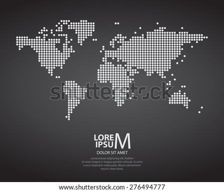 Dotted world map on dark background vector - stock vector