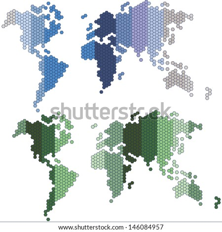 Dotted world maps, set  - stock vector
