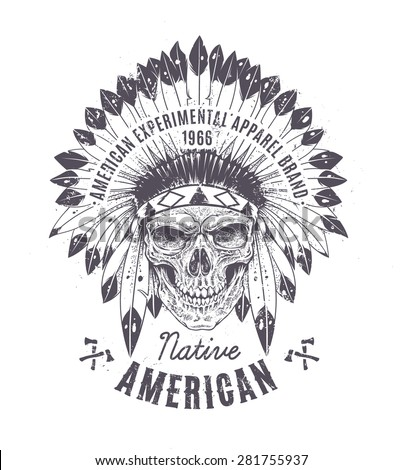 Dotwork style skull with indian feather hat. Grunge print template. Vector art. - stock vector