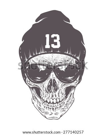 Dotwork style skull with sunglasses and hat. Isolated on white. Vector art. - stock vector