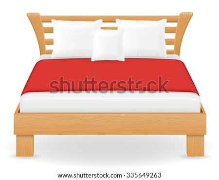 double bed furniture vector illustration isolated on white background - stock vector