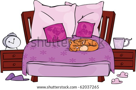 Double bed with sleeping cat - stock vector