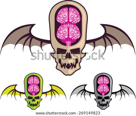 Double brain skull - stock vector