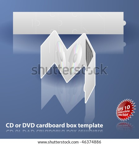 Double CD or DVD cardboard box template - stock vector