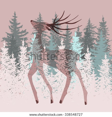 Double exposure deer in the forest illustration - stock vector