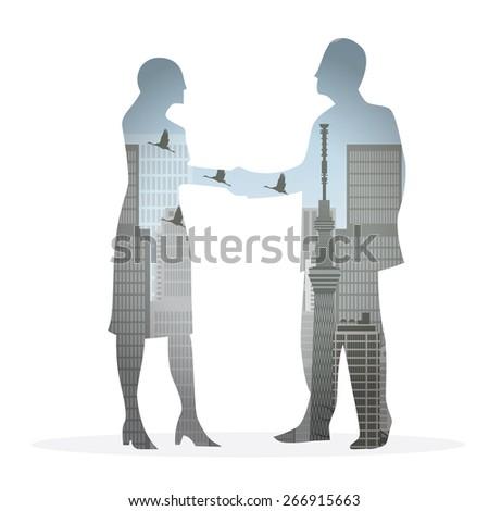 double exposure handshake businessman on city background Vector illustration eps10 - stock vector