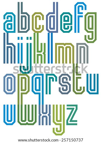 Double line geometric font, retro style typeface made with straight lines only. Best for posters, headlines and graphic design in 70�¢??s retro style. Lowercase glyphs set. - stock vector