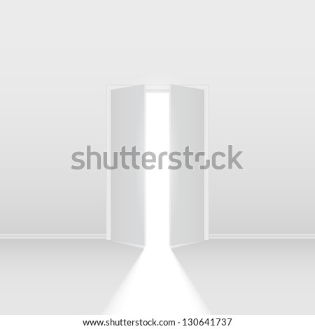 Double open door. Illustration on white background for creative design - stock vector