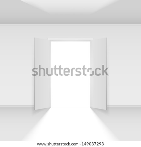 Double open door with light. Illustration on empty background - stock vector