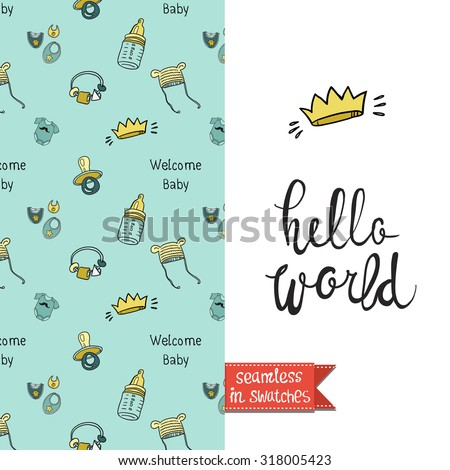 Double sided vintage greeting card for newborn baby shower party with birth and birthday pattern background on back side and lettering on front side. Seamless pattern in swatches. - stock vector
