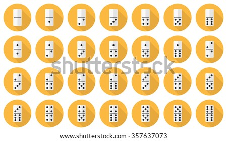 Double-six (28 pieces) domino vector flat icon set: white dominoes on yellow background - stock vector
