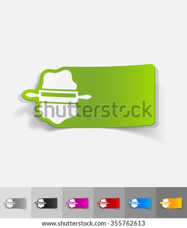 dough and rolling pin paper sticker with shadow. Vector illustration - stock vector
