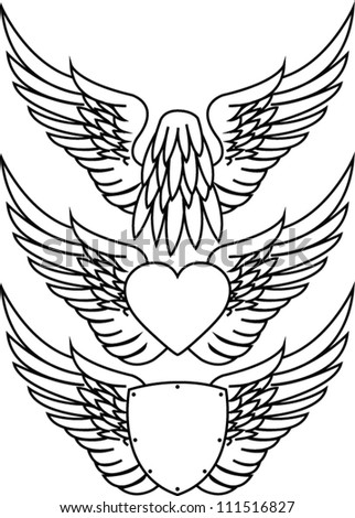 Dove in flight, heart with wings and shield with wings - stock vector