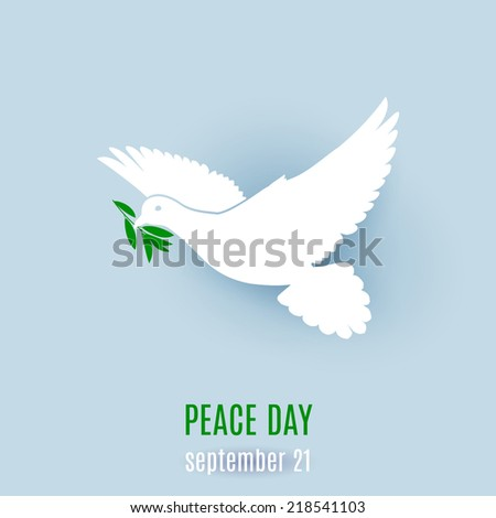 Dove of peace flying with a green twig. Illustration on light blue - stock vector