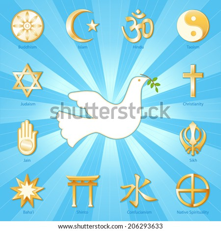 Dove of Peace,  world religions icons: Buddhism, Islam, Hindu, Taoism, Christianity, Sikh, Native Spirituality, Confucian, Shinto, Bahai, Jain, Judaism.  Aqua, gold ray background. EPS8 compatible. - stock vector