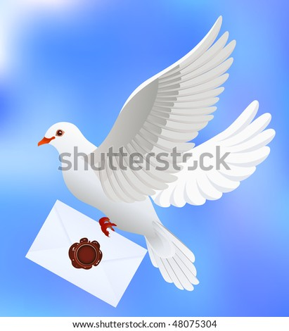 Dove with letter, vector illustration - stock vector