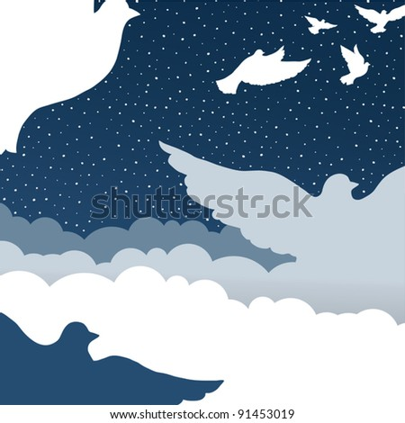 Doves in cloud sky - stock vector