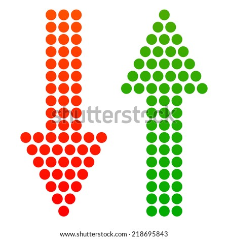 Down and up arrows made from dots, dotted arrows. Up, down arrow set - stock vector