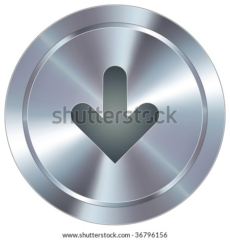 Down arrow direction icon on round stainless steel modern industrial button suitable for use as a website accent, on promotional materials, or in advertisements. - stock vector