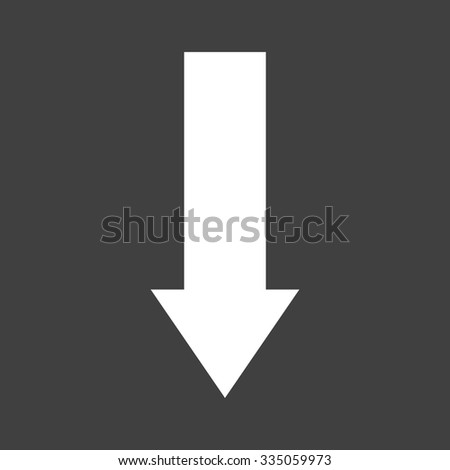 Down Arrow Icon on Gray Background - stock vector