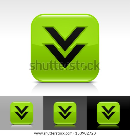 Download arrow icon green color glossy web button with black sign. Rounded square shape with shadow, reflection on white, gray, black background. Vector illustration element 8 eps  - stock vector