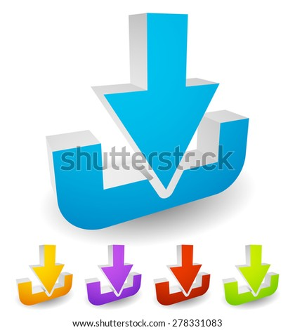 Download button or icon with arrow pointing to a hard drive.. Eps 10 vector illustration - stock vector