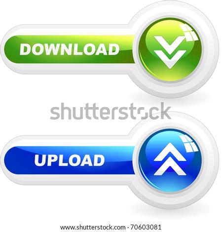 Download button set. Vector set for web. - stock vector