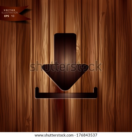 Download icon.  Wooden texture. - stock vector