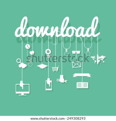 download  with vector icons, concept background illustration - stock vector