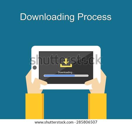 Downloading process on screen of tablet concept illustration. Flat design. Download bar status. - stock vector