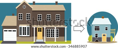Downsizing. From a big family home to a small retirement cottage, EPS 8 vector illustration - stock vector