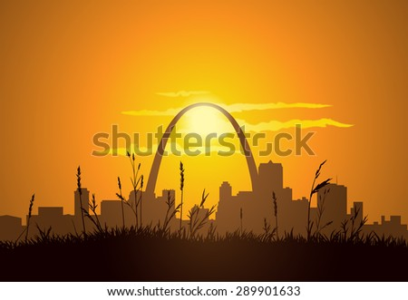 Dowtown St. Louis visible from East St. Louis, during sunset.  - stock vector