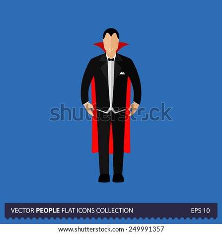 Dracula Character on blue background vector illustration. People flat icon collection. - stock vector