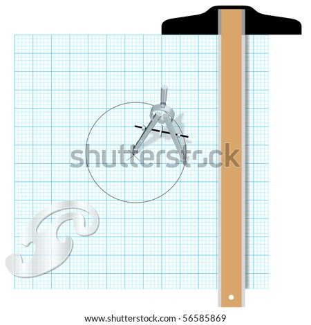 Drafting design tools protractor t square compass engineering drawing. - stock vector