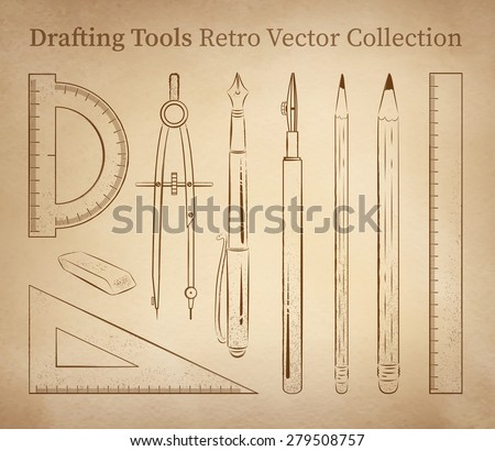 Drafting tools hand drawn vector set on vintage old paper background. - stock vector