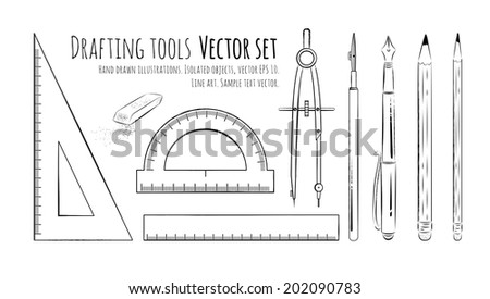Drafting tools. Vector set. Isolated.Vector illustration. - stock vector