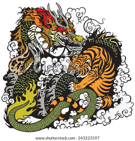 dragon and tiger fighting , illustration - stock vector