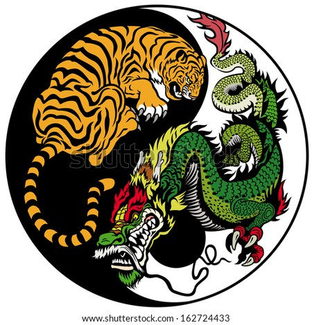 dragon and tiger yin yang symbol of harmony and balance  - stock vector